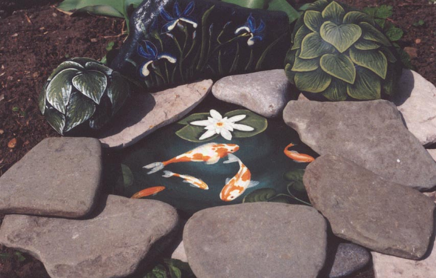 Rock paintings slates painted rocks lee wismer fish pond for Fish pond rocks