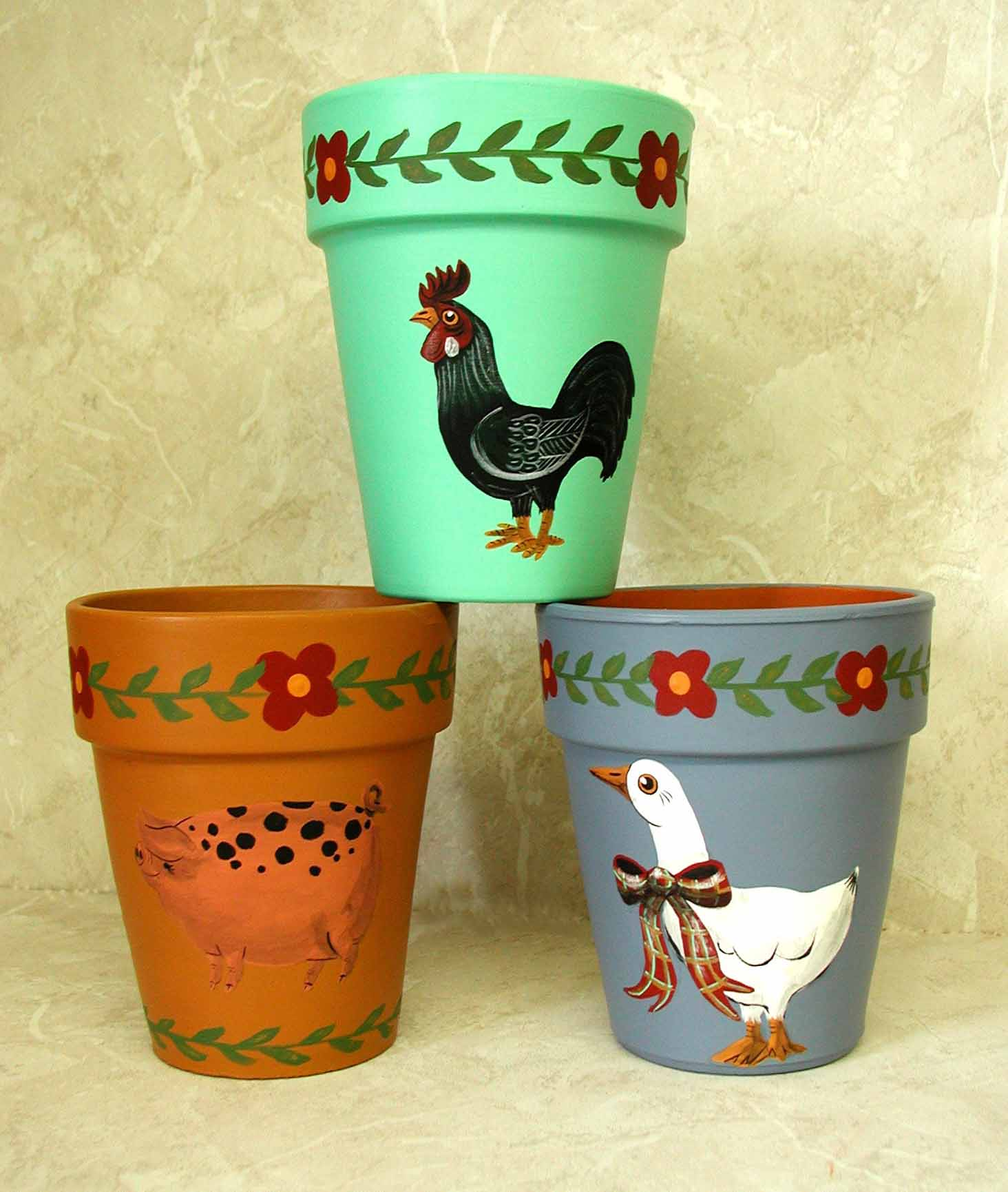 Painted Clay Pot Designs http://decorockart.homestead.com/ClayPots.html