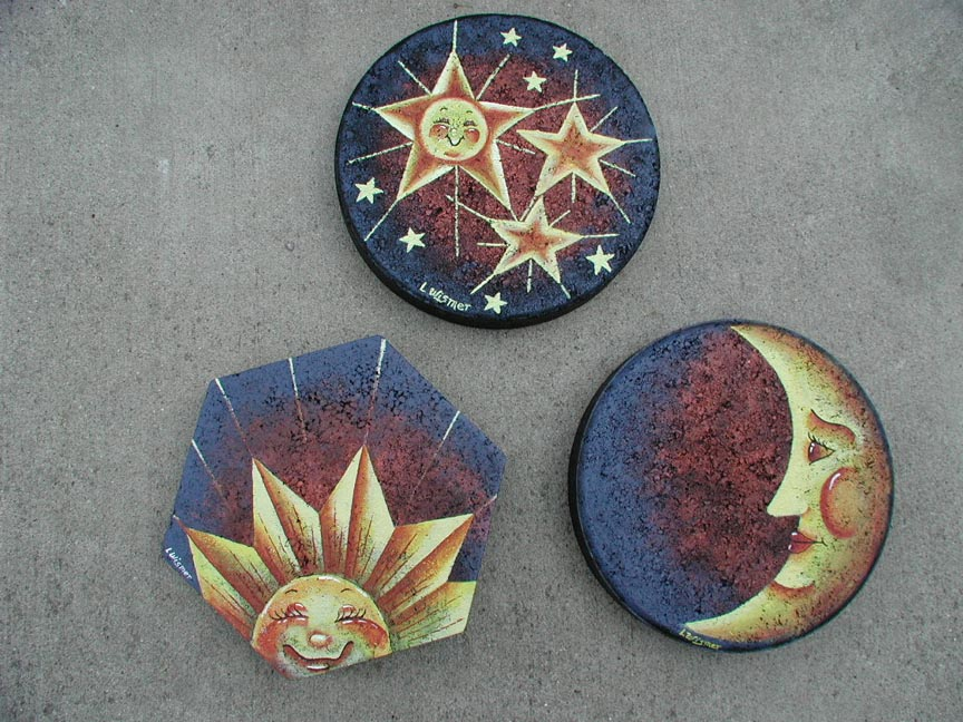 Rock paintings slates painted rocks lee wismer fish pond - Painting rocks for garden what kind of paint ...